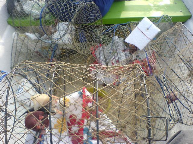 Kräftfiske görs med kräftburar.