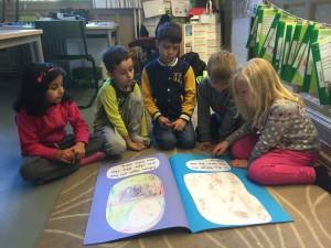 Irem, Adem, Yusef, Abbe och Alvina läser i storboken.