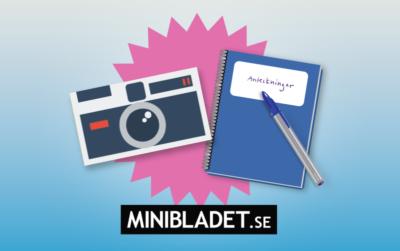 Illustration av en kamera och ett anteckningsblock. Under syns MiniBladets logga.