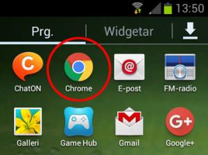Klicka på ikonen för Chrome
