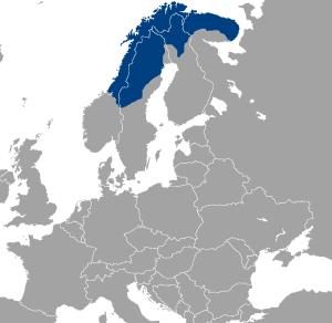 En karta där området som kallas Sapmi är blåmarkerat.