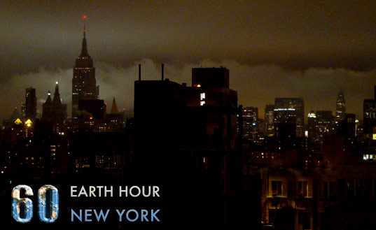 En bild från Earth hour i New York.