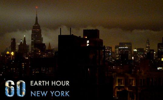 En bild från Earth hour i New York.