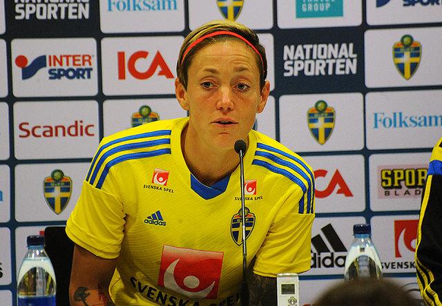 Therese Sjögran har gjort flest landskamper för landslaget. 210 matcher har spelat.