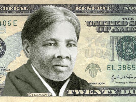 En modell av sedeln med Harriet Tubman.