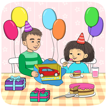 Minja och Mino firar med tårta och ballonger.