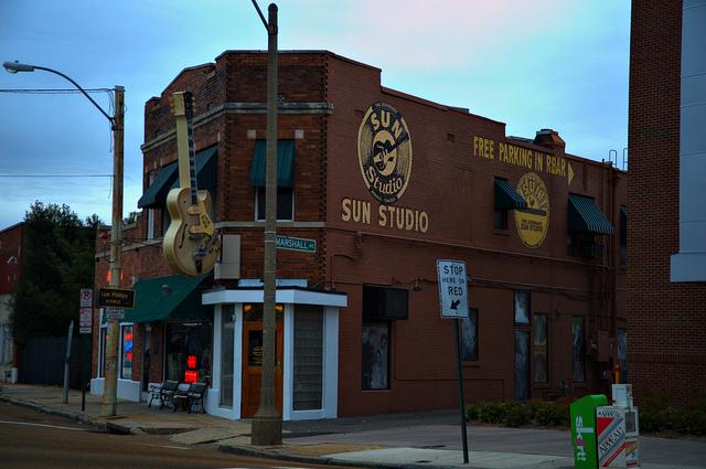 På Sun Records spelade Elvis in sina första skivor.