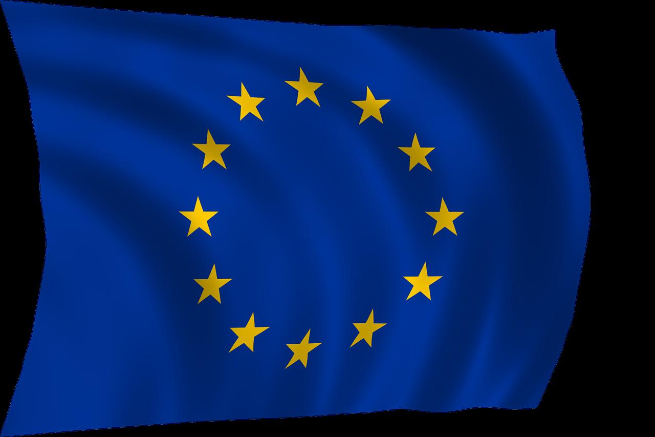 EU:s flagga är blå med 12 stjärnor.