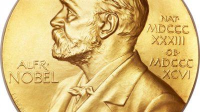 Alfred Nobel avbildad på ett mynt.
