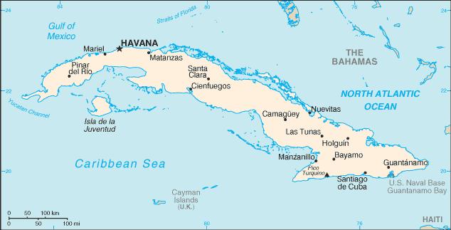 Kuba är en ö som ligger i Västindien. Det är öarna som ligger utanför USA och Centralamerika.