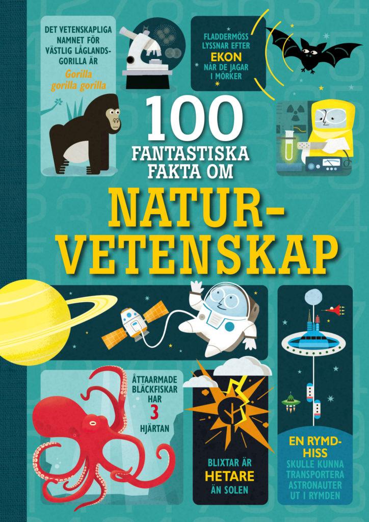 En bild på bokens framsida. Framsidan är fylld av bilder på apor, planeter, bläckfiskar, experiment och mycket mer.