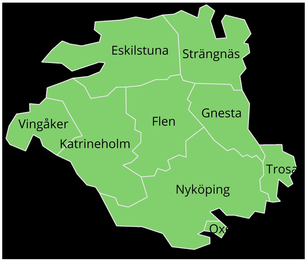Kommuner i Eskilstuna-Kurirens, Katrineholms-Kurirens och Södermanlands Nyheters spridningsområde: Eskilstuna, Flen, Gnesta, Katrineholm, Nyköping, Oxelösund, Strängnäs, Trosa och Vingåker.