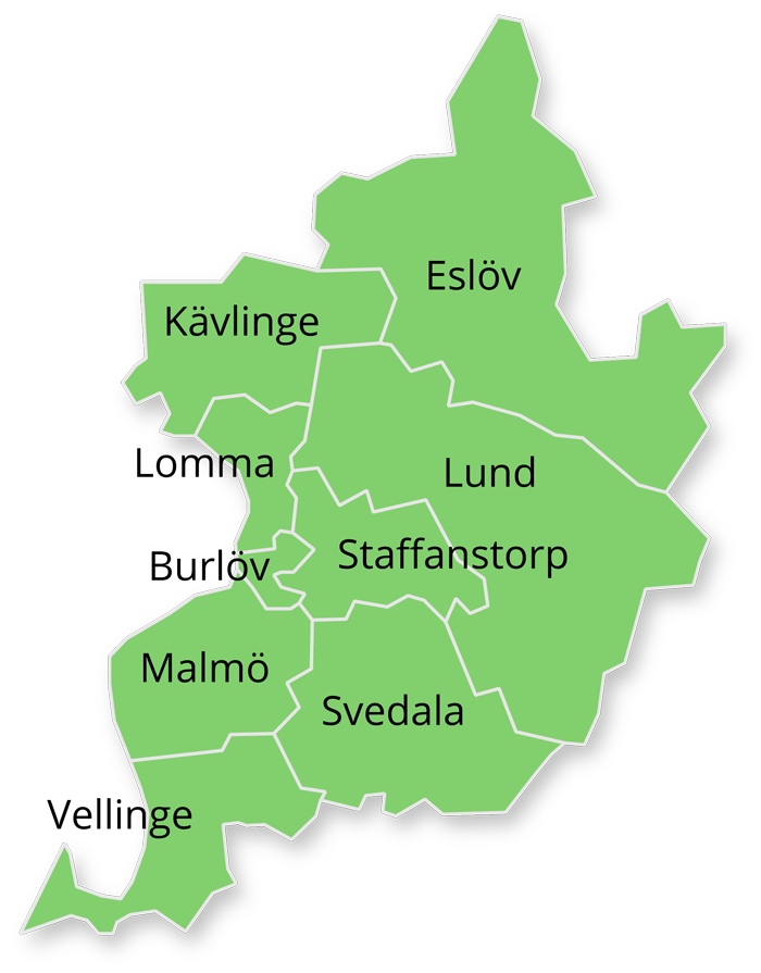Karta över kommuner: Burlöv, Eslöv, Kävlinge, Lomma, Lund, Malmö, Staffanstorp, Svedala och Vellinge.