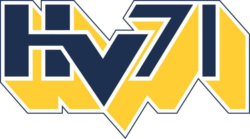 HV71:s logga där det står HV71 med stora bokstäver som är gula och blå.