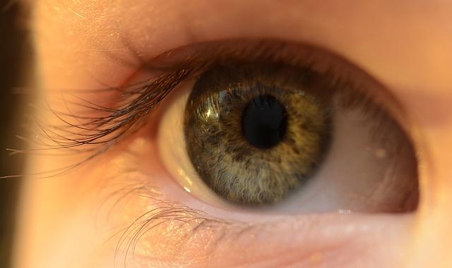 Ett grönblått öga i närbild.