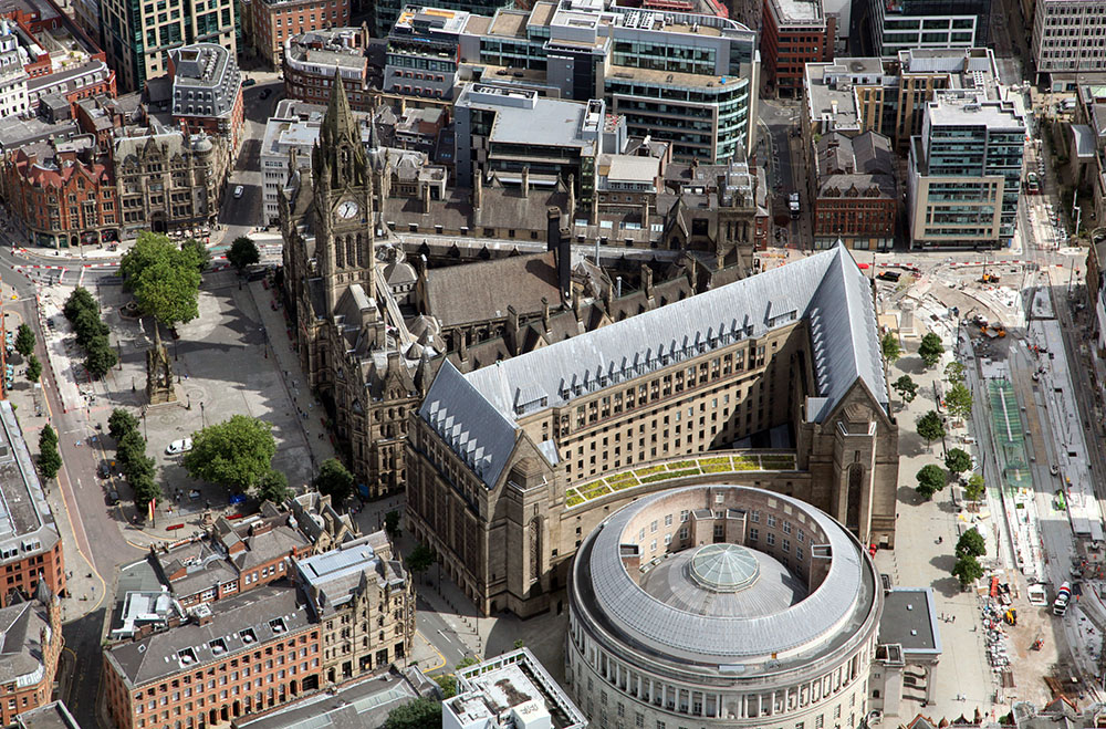 Stadshuset och några andra byggnader i Manchester city.