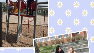 Två foton på en blommig bakgrund. Ett foto är på en kätterställning där barn leker. Det andra fotot är på några barn som sitter och har det tråkigt på en trappa.