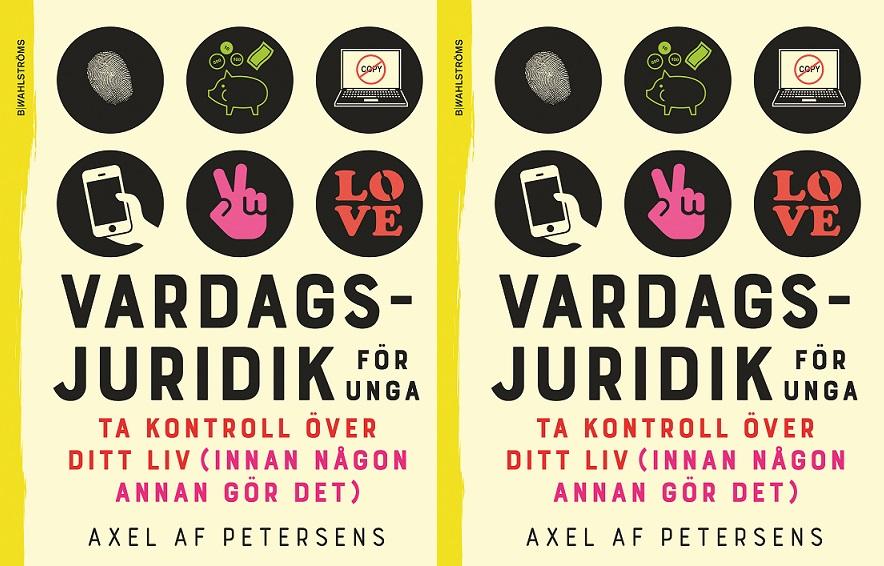 Bokens omslag, där titeln står tillsammans med flera ikoner till exempel en ikon med en mobil.