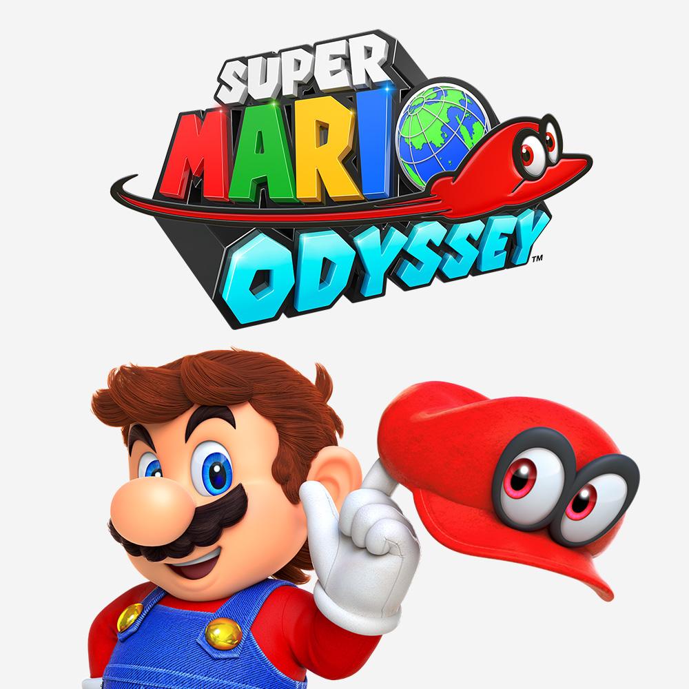 Super Mario står och snurrar på sin mössa. Ovanför honom finns texten Super Mario Odyssey