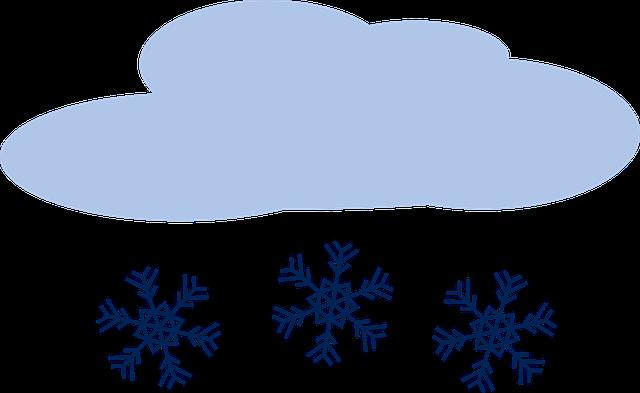 Moln med snöflingor som dalar från det.