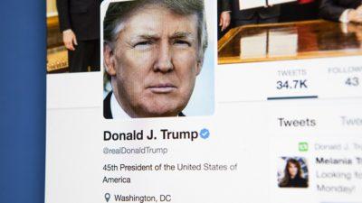 Donald Trump presentationsbild på twitter.