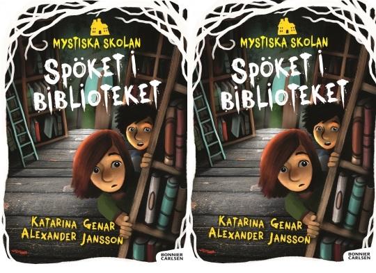 Två barn kikar fram bakom en bokhylla. Ovanför barnen står texten Spöket i biblioteket.