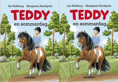 Elsa sitter på sin häst Teddy och rider på en väg ute i naturen.