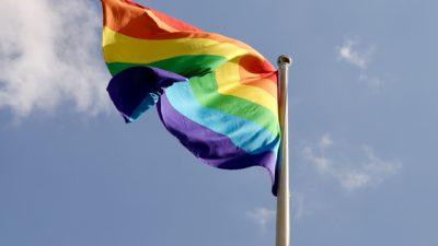Flagga med regnbågens färger.