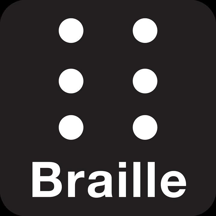 Sex vita prickar på en svart bakgrund. Under prickarna står det Braille.