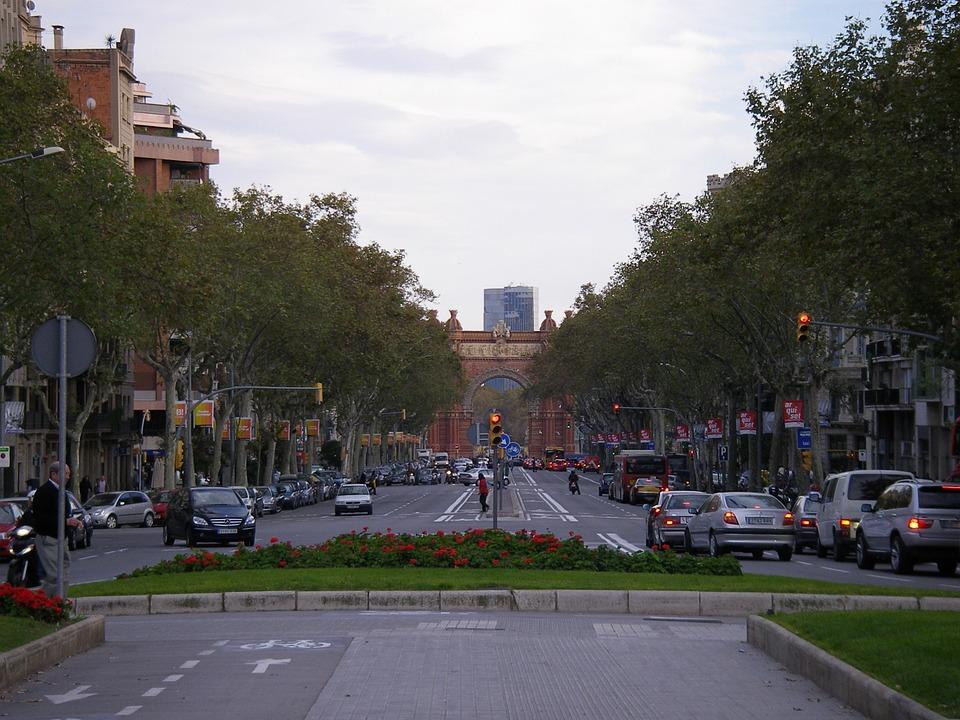 En gågata i Barcelona.