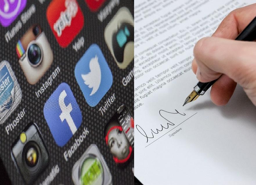 Olika sociala mediers loggor och en penna som skriver under ett kontrakt.