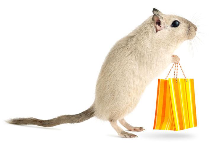 En vit mus som håller en shoppingpåse.