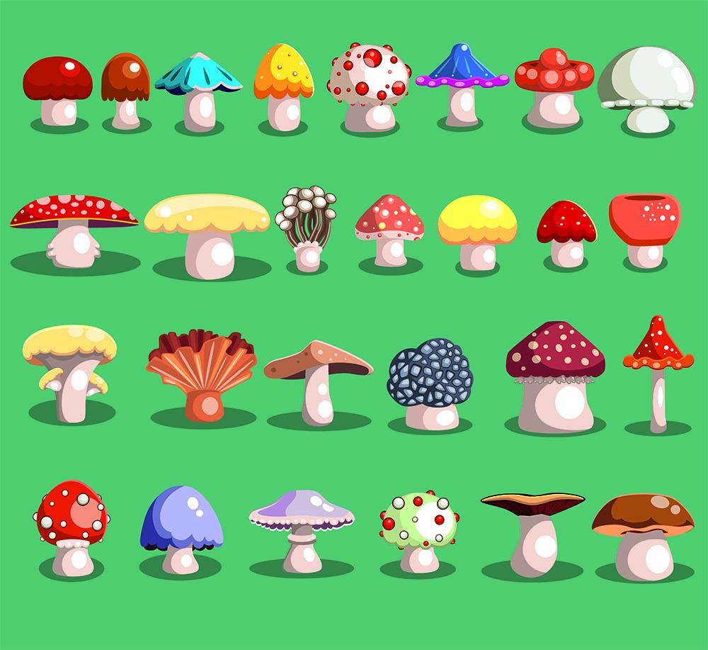 En ritad bild med flera olika typer av svampar. De flesta har vita fötter, men alla har olika färger på hattarna.