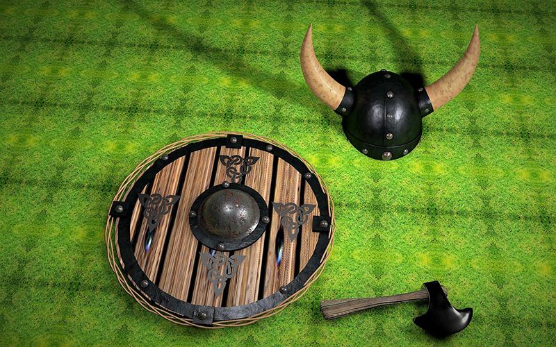 En runt träsköld, en metallhatt med två horn som pekar ut åt sidorna och en liten yxa.