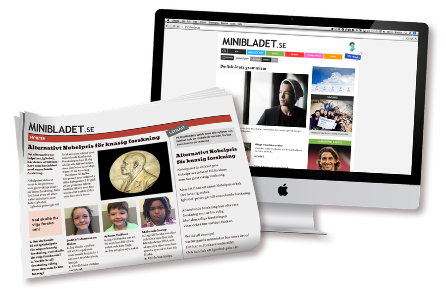 MiniBladets pappersbilaga och webbsida