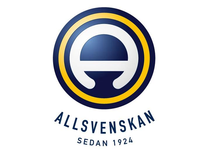 Allsvenskans logga. Det är en blå och gul cirkel. I mitten är det en rund blobb som är avskuren på hälften.