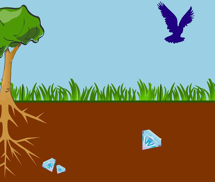 Tecknad bild med ett träd och gräs. Under gräset syns jord och i jorden ligger det flera diamanter.
