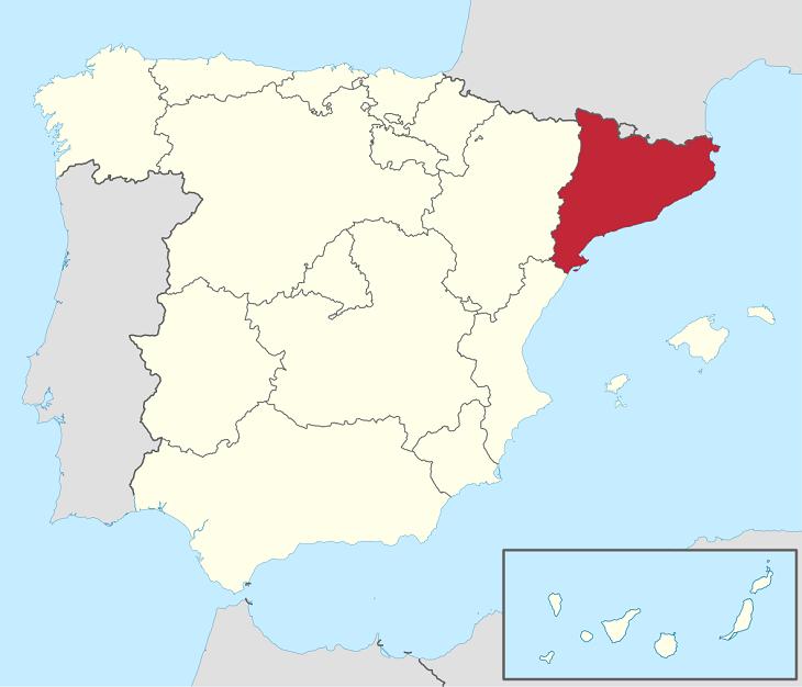 En karta över Spanien där Katalonien är rödmarkerat.