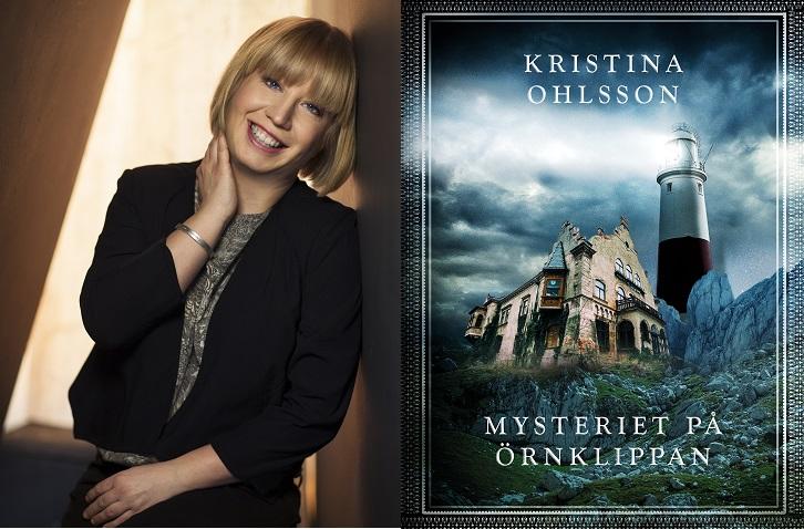 Till vänster syns Kristina. Hon har blont halvlångt hår och lugg, och svart kavaj. Till höger syns bokomslaget. Det är ganska mörkt med ett stort gammalt stenhus i mitten.