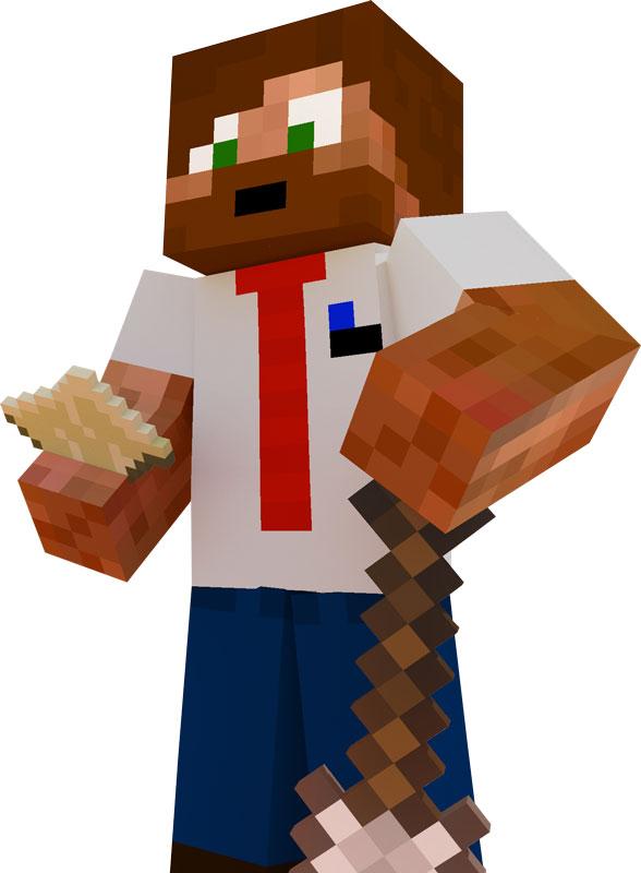 Ufosxm som en karaktär i spelet Minecraft