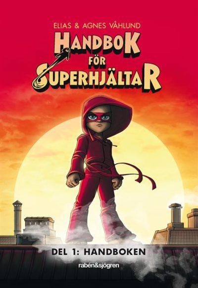 Bokomslaget är rött med en flicka i röda kläder och mask.