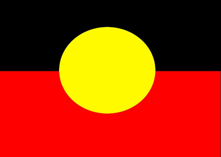 En flagga som är hälften röd och hälften svart. I mitten är det en stor gul cirkel.