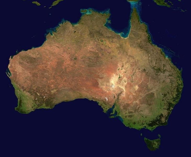 En karta över Australien. Det är en stor ganska rund ö.
