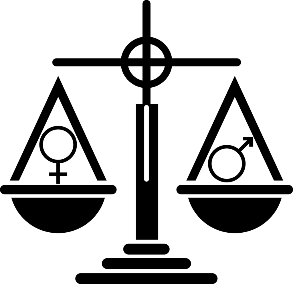 En kvinnosyymbol och en manssymbol på en våg som visar att de väger lika