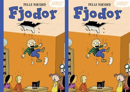 Bokomslaget till boken. En tecknad liten kille med glasögon faller ner från ett hål i taket.