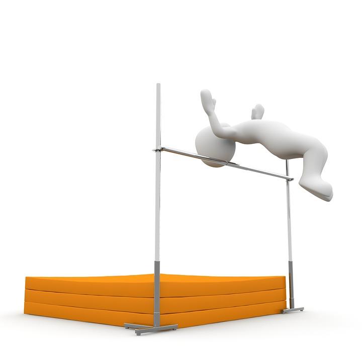 En 3 D-figur som hoppar höjdhopp.