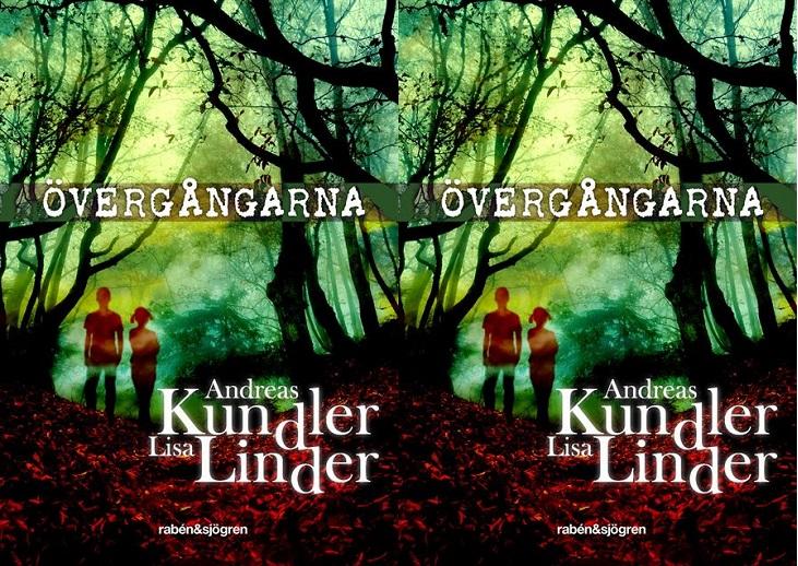 Bokens framsida. Det är en grön skog, med en röd stig. En bit bort på stigen syns silhuetter av två barn.