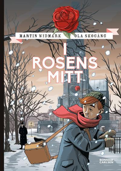 Stefan ser sig runt axeln i ett snöigt stockholm.