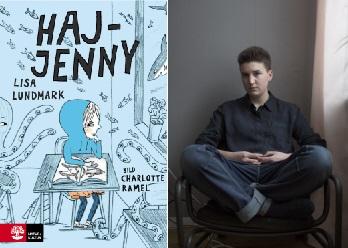 Haj-Jenny sitter vid en skolbänk.. Bredvid bokomslaget är en bild på författaren Lisa Lundmark..