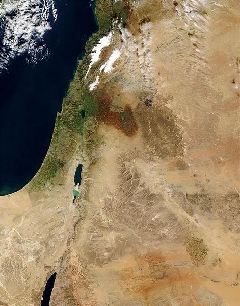 Israel och Palestina-området sett från luften.
